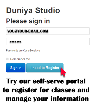 Manage your contact info and class registrations through our portal